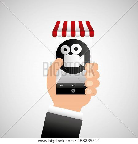 hand holding e-shopping movie design vector illustration eps 10