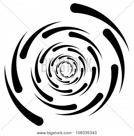 Circular Element With Random Radiating Lines. Radial Circles Spiral Shape