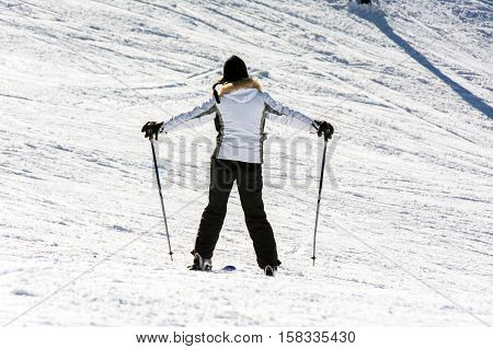 TERMINILLO ITALY - JANUARY 02 2015: Skiers on the of Ski resort Terminillo mountains Apennines central Italy. This is the most important ski resort of the Lazio.