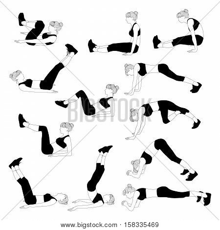 Vector collection of silhouette of a girl trains on white. Exercises on the lower press.