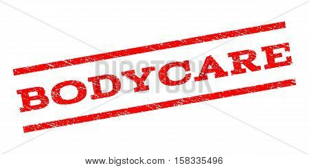 Bodycare watermark stamp. Text caption between parallel lines with grunge design style. Rubber seal stamp with dust texture. Vector red color ink imprint on a white background.