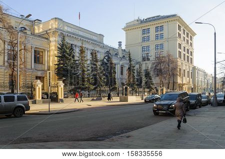 MOSCOW - NOVEMBER 22: Central Bank of Russian Federation in Neglinnaya Street on November 22 2016 in Moscow. Central Bank of Russia founded in 1860 as State Bank of the Russian Empire.