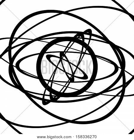 Squiggle, Squiggly Circles, Ovals, Lines. Spiral Made Of Random Circles. Abstract Art.