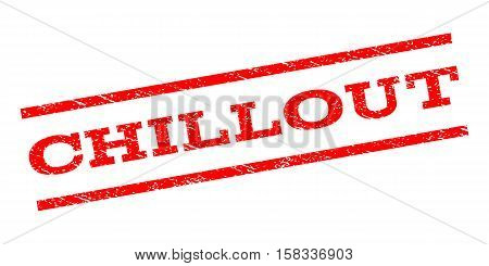 Chillout watermark stamp. Text tag between parallel lines with grunge design style. Rubber seal stamp with scratched texture. Vector red color ink imprint on a white background.