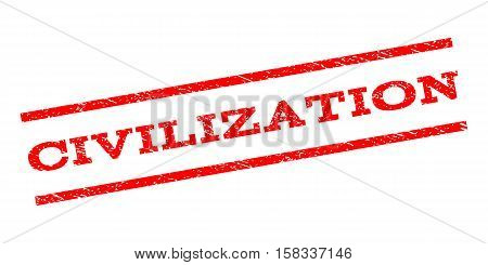 Civilization watermark stamp. Text caption between parallel lines with grunge design style. Rubber seal stamp with unclean texture. Vector red color ink imprint on a white background.