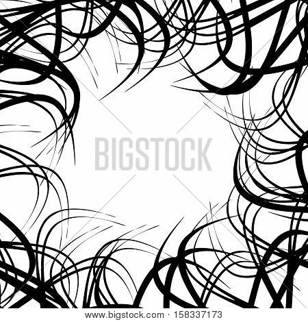 Chaotic Random Curved Lines. Abstract Artistic Pattern, Background