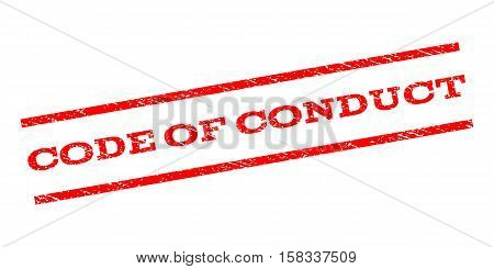 Code Of Conduct watermark stamp. Text caption between parallel lines with grunge design style. Rubber seal stamp with unclean texture. Vector red color ink imprint on a white background.