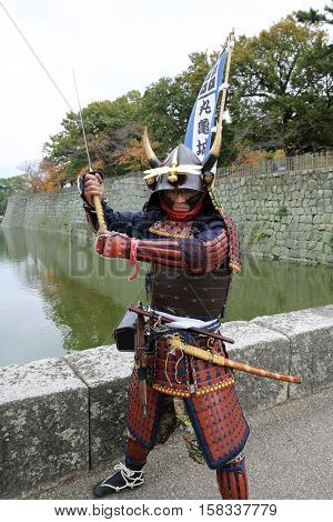 KAGAWA, JAPAN - NOVEMBER 20: Katana sword fighters at Marugame Iai Festival, event dedicated to Japanese culture and tradition at Marugame-castle on November 20, 2016 in Japan.