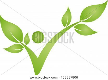 Human being as a plant in green, chiropractor and sports medicine logo