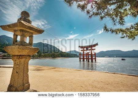Long exposure in Miyajima with Floating Torii gate, high tide, Japan.
