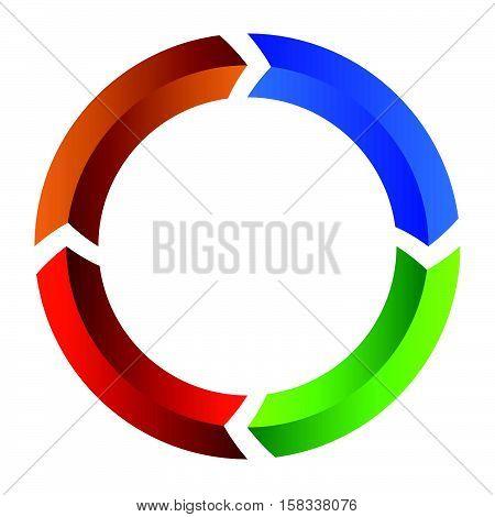 Segmented Circle Arrow. Circular Arrow Icon. Process, Progres, Rotation Icon.
