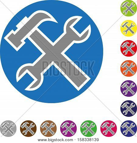 Tools, button, colored, tool and locksmith logo