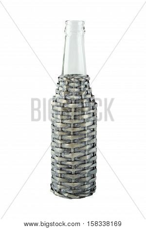 Glass bottle in the protective netting. Isolated