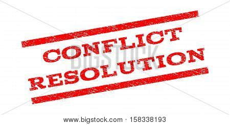Conflict Resolution watermark stamp. Text caption between parallel lines with grunge design style. Rubber seal stamp with dust texture. Vector red color ink imprint on a white background.