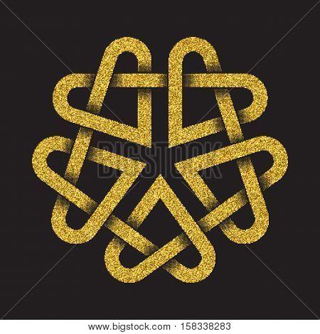 Golden glittering logo symbol in Celtic style on black background. Tribal symbol in pentagon mandala form. Gold stamp for jewelry design.