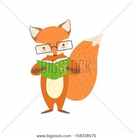 Fox Smiling Bookworm Zoo Character Wearing Glasses And Reading A Book Cartoon Illustration Part Of Animals In Library Collection. Flat Vector Drawing With Childish Design Fauna Studying The Literature. poster