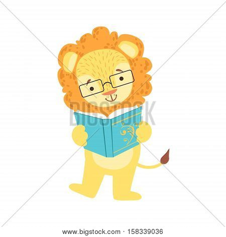 Lion Smiling Bookworm Zoo Character Wearing Glasses And Reading A Book Cartoon Illustration Part Of Animals In Library Collection. Flat Vector Drawing With Childish Design Fauna Studying The Literature.