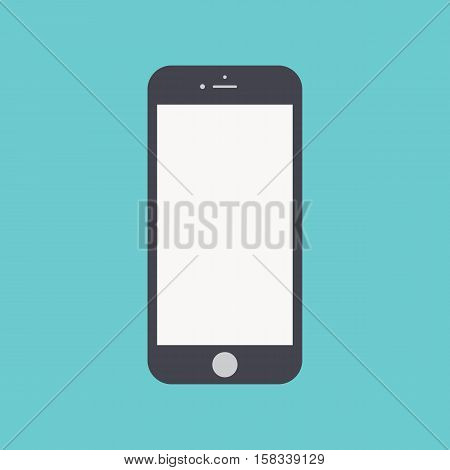 smartphone icon in the style flat design isolated on blue background. stock vector illustration eps10