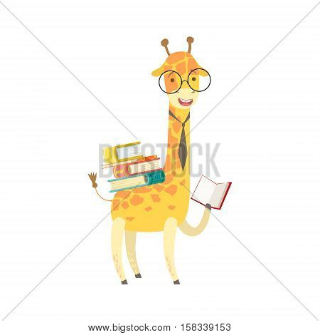 Giraffe Smiling Bookworm Zoo Character Wearing Glasses And Reading A Book Cartoon Illustration Part Of Animals In Library Collection. Flat Vector Drawing With Childish Design Fauna Studying The Literature.