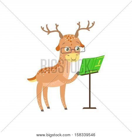 Deer Smiling Bookworm Zoo Character Wearing Glasses And Reading A Book Cartoon Illustration Part Of Anim. Flat Vector Drawing With Childish Design Fauna Studying The Literature.als In Library Collection poster