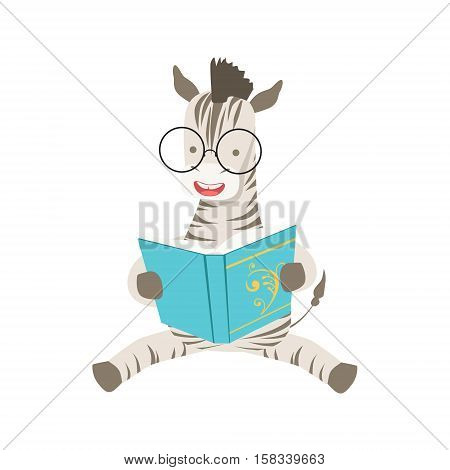Zebra Smiling Bookworm Zoo Character Wearing Glasses And Reading A Book Cartoon Illustration Part Of Animals In Library Collection. Flat Vector Drawing With Childish Design Fauna Studying The Literature. poster
