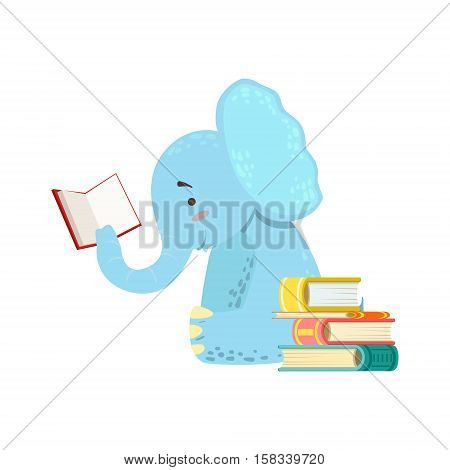 Elephant Smiling Bookworm Zoo Character Reading A Book Cartoon Illustration Part Of Animals In Library Collection. Flat Vector Drawing With Childish Design Fauna Studying The Literature.