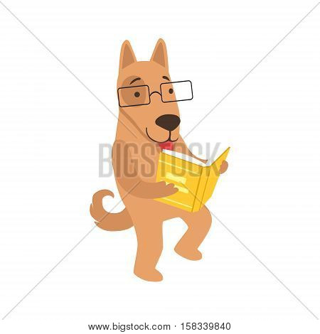 Shepherd Dog Smiling Bookworm Zoo Character Wearing Glasses And Reading A Book Cartoon Illustration Part Of Animals In Library Collection. Flat Vector Drawing With Childish Design Fauna Studying The Literature. poster