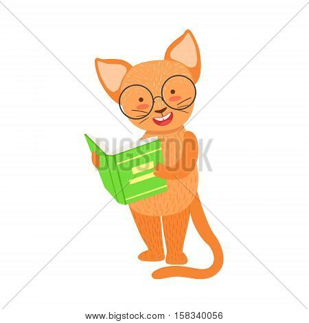 Red Cat Smiling Bookworm Zoo Character Wearing Glasses And Reading A Book Cartoon Illustration Part Of Animals In Library Collection. Flat Vector Drawing With Childish Design Fauna Studying The Literature. poster