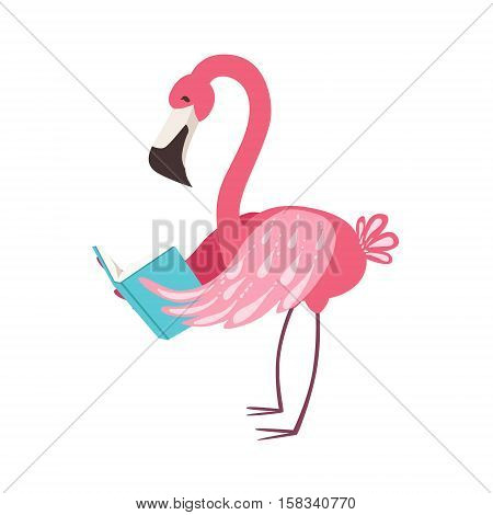 Pink Flamingo Smiling Bookworm Zoo Character Wearing Glasses And Reading A Book Cartoon Illustration Part Of Animals In Library Collection. Flat Vector Drawing With Childish Design Fauna Studying The Literature. poster