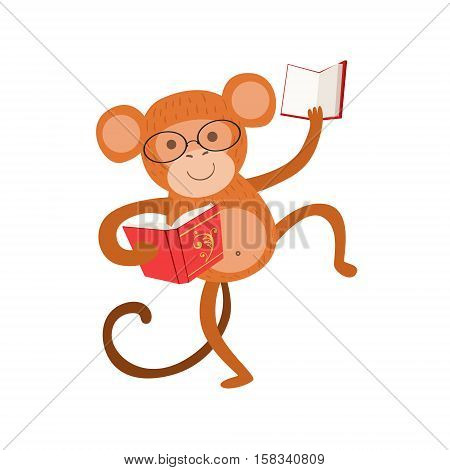 Monkey Smiling Bookworm Zoo Character Wearing Glasses And Reading A Book Cartoon Illustration Part Of Animals In Library Collection. Flat Vector Drawing With Childish Design Fauna Studying The Literature.