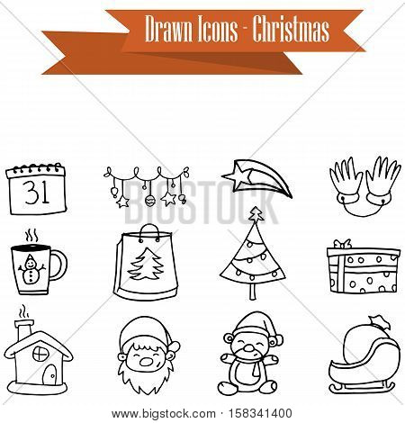 Vector of Merry Christmas icons collection stock