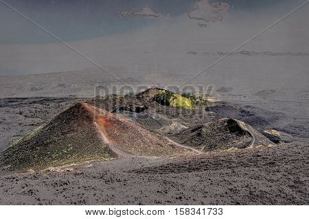 Landscape of Etna volcano, Sicily, Italy. Deserted martian-like surface. Beautiful Travel photography. Modern painting style texture. Travel illustration.
