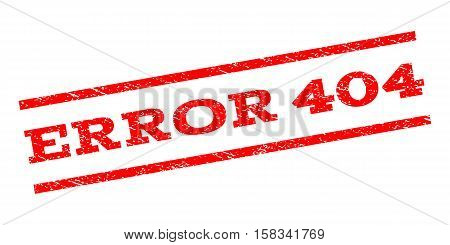 Error 404 watermark stamp. Text tag between parallel lines with grunge design style. Rubber seal stamp with dust texture. Vector red color ink imprint on a white background.