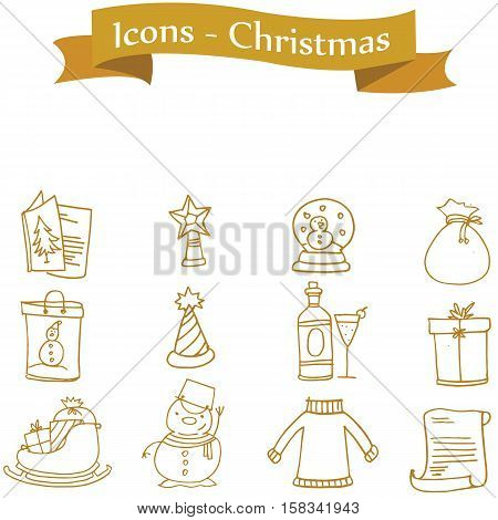 Element Christmas of icons vector collection stock