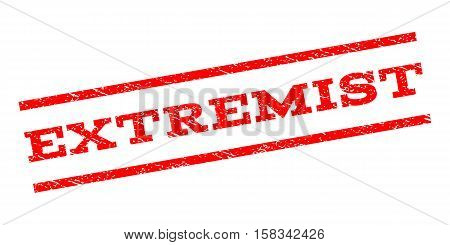 Extremist watermark stamp. Text caption between parallel lines with grunge design style. Rubber seal stamp with dust texture. Vector red color ink imprint on a white background.