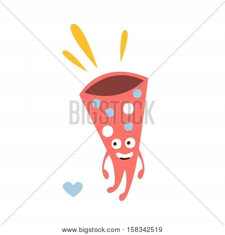 Loud Party Horn Children Birthday Party Attribute Cartoon Happy Humanized Character In Girly Colors. Kids Celebration Related Object With Smiling Face Flat Vector Illustration.