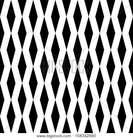 Seamless Vertical Stripe Rhombus Pattern. Vector Black and White Rhombus Background. Regular Modern Wallpaper. Minimal Print Graphic Design. Wrapping Paper Ornament