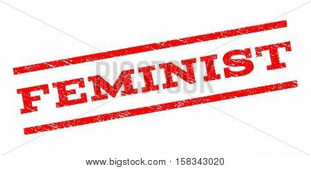 Feminist watermark stamp. Text tag between parallel lines with grunge design style. Rubber seal stamp with scratched texture. Vector red color ink imprint on a white background.