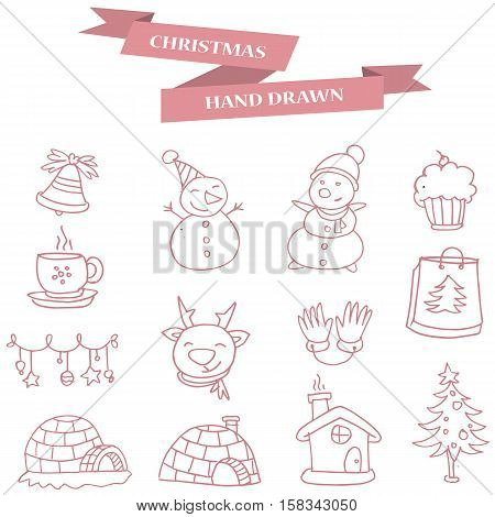 Collection stock Merry Christmas icons vector illustration