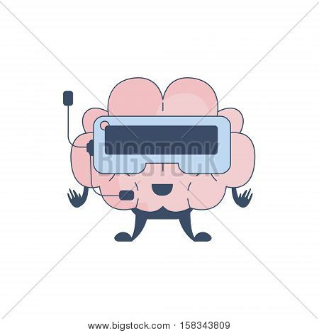Brain Playing Virtual REality Video Games Comic Character Representing Intellect And Intellectual Activities Of Human Mind Cartoon Flat Vector Illustration. Cartoon Human Central Nervous System Organ Emoji Design.