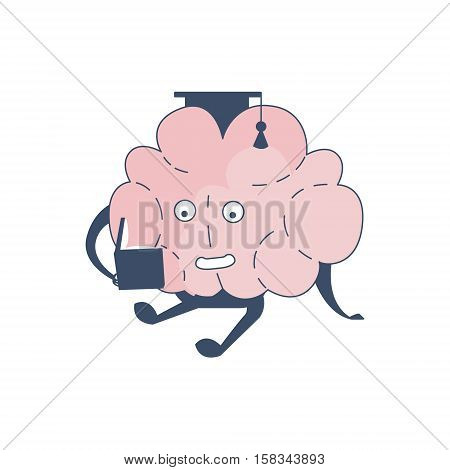 Brain In Square Hat Studying Comic Character Representing Intellect And Intellectual Activities Of Human Mind Cartoon Flat Vector Illustration. Cartoon Human Central Nervous System Organ Emoji Design.