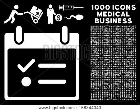 White Todo List Calendar Day vector icon with 1000 medical business pictograms. Set style is flat symbols, white color, black background.