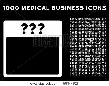 White Unknown Calendar Page vector icon with 1000 medical business pictograms. Set style is flat symbols, white color, black background.