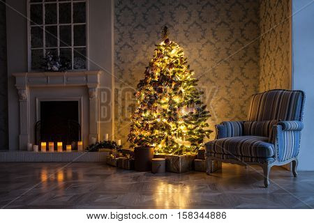 Classic green tree decorated in christmas toys. Merry christmas and new year interior background with lighting garland