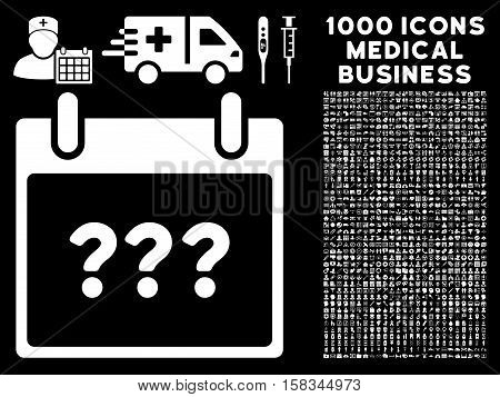 White Unknown Day Calendar Page vector icon with 1000 medical business pictograms. Set style is flat symbols, white color, black background.