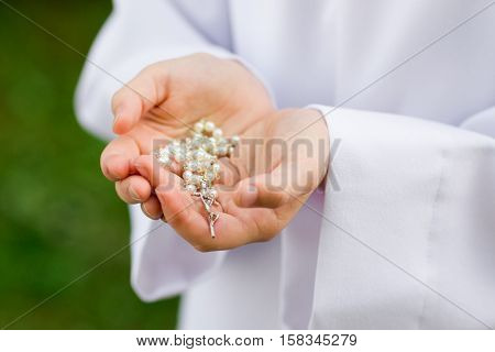 First Holy Communion Rosary Detail