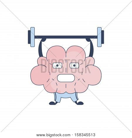 Brain In Gym Doing Weight Lifting Comic Character Representing Intellect And Intellectual Activities Of Human Mind Cartoon Flat Vector Illustration. Cartoon Human Central Nervous System Organ Emoji Design.