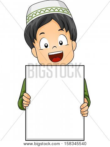 Illustration of a Cute Little Muslim Boy Flashing a Wide Smile While Holding a Blank Board