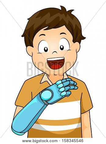 Illustration of a Boy With a Prosthetic Arm Smiling While Bending His Bionic Fingers