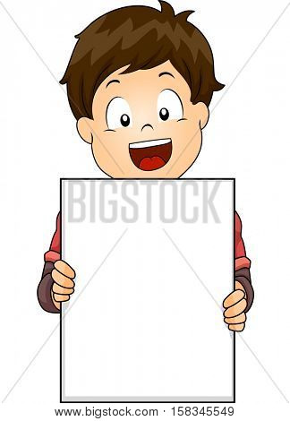 Illustration of a Cute Little Boy Flashing a Wide Smile While Holding a Blank Board